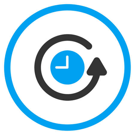 restore: Restore Clock glyph icon. Style is bicolor flat circled symbol, blue and gray colors, rounded angles, white background. Stock Photo