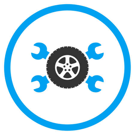 circled: Tire Service glyph icon. Style is bicolor flat circled symbol, blue and gray colors, rounded angles, white background.