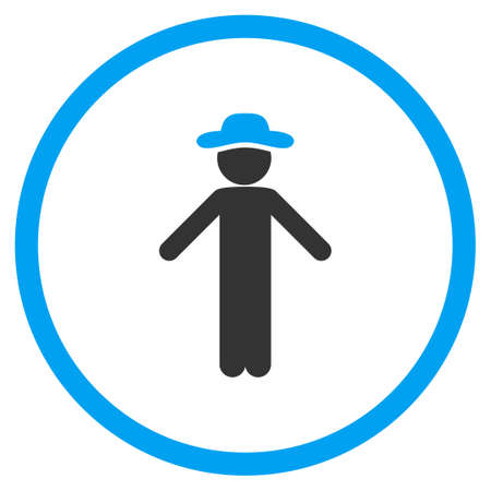 apology: Boy Apology glyph icon. Style is bicolor flat circled symbol, blue and gray colors, rounded angles, white background.