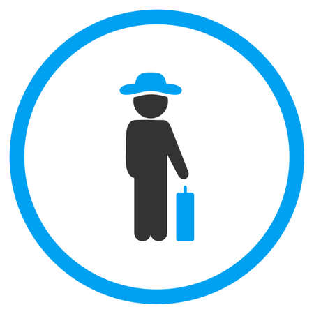 the case selected: Person Baggage glyph icon. Style is bicolor flat circled symbol, blue and gray colors, rounded angles, white background.