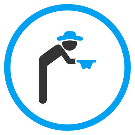 pauper: Fellow Beggar glyph icon. Style is bicolor flat circled symbol, blue and gray colors, rounded angles, white background.