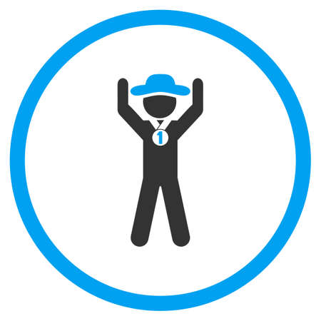 Human Champion glyph icon. Style is bicolor flat circled symbol, blue and gray colors, rounded angles, white background.