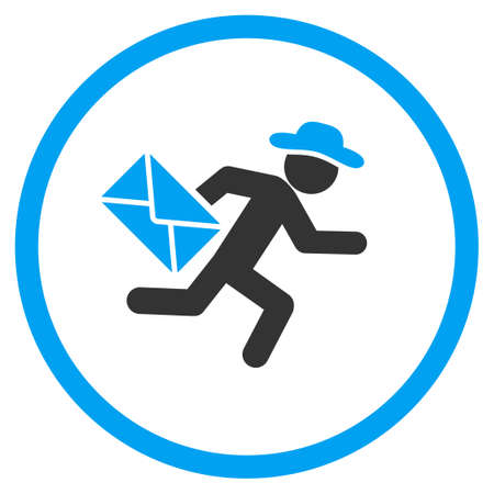 fellow: Fellow Mail Courier glyph icon. Style is bicolor flat circled symbol, blue and gray colors, rounded angles, white background.