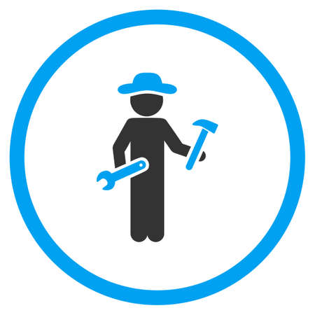 serviceman: Gentleman Serviceman glyph icon. Style is bicolor flat circled symbol, blue and gray colors, rounded angles, white background.