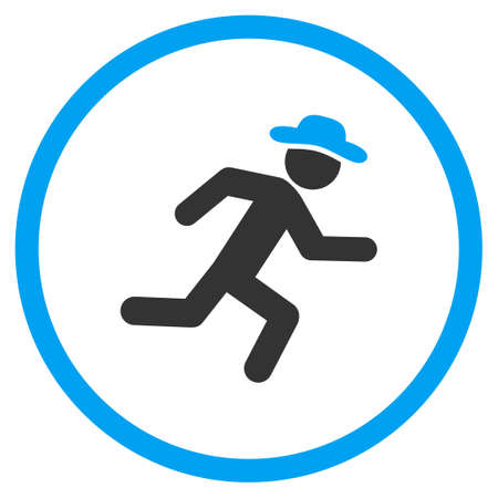 boy gymnast: Running Gentleman glyph icon. Style is bicolor flat circled symbol, blue and gray colors, rounded angles, white background.