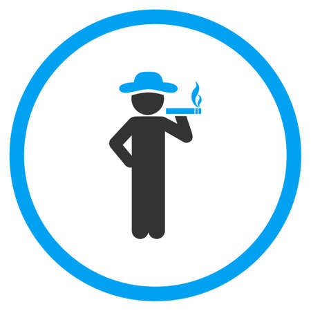 ciggy: Smoking Boy glyph icon. Style is bicolor flat circled symbol, blue and gray colors, rounded angles, white background.