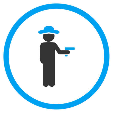 fellow: Fellow Robber glyph icon. Style is bicolor flat circled symbol, blue and gray colors, rounded angles, white background. Stock Photo