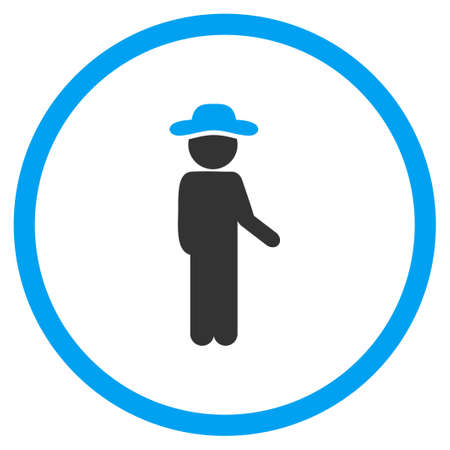 idler: Guy Idler vector icon. Style is bicolor flat circled symbol, blue and gray colors, rounded angles, white background.