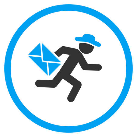 a fellow: Fellow Mail Courier vector icon. Style is bicolor flat circled symbol, blue and gray colors, rounded angles, white background.