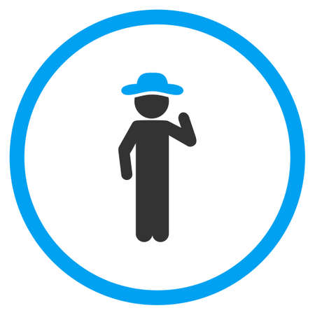 embarrassment: Agent Opinion vector icon. Style is bicolor flat circled symbol, blue and gray colors, rounded angles, white background.