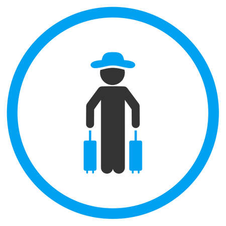 a fellow: Fellow Passenger vector icon. Style is bicolor flat circled symbol, blue and gray colors, rounded angles, white background.