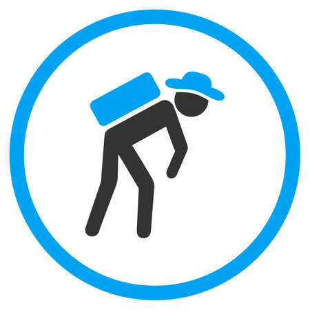 porter: Human Porter vector icon. Style is bicolor flat circled symbol, blue and gray colors, rounded angles, white background. Illustration
