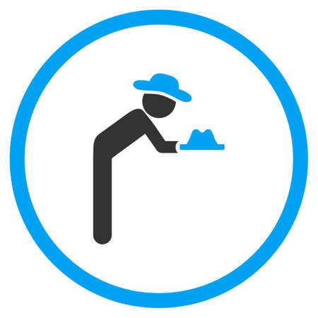 pauper: Agent Servant vector icon. Style is bicolor flat circled symbol, blue and gray colors, rounded angles, white background.