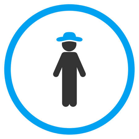 pawn adult: Standing Guy vector icon. Style is bicolor flat circled symbol, blue and gray colors, rounded angles, white background.