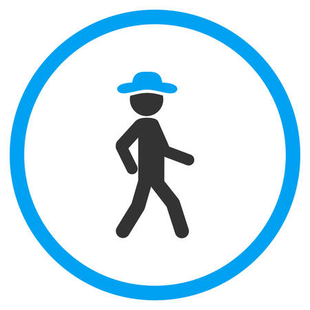 pawn adult: Walking Fellow vector icon. Style is bicolor flat circled symbol, blue and gray colors, rounded angles, white background.
