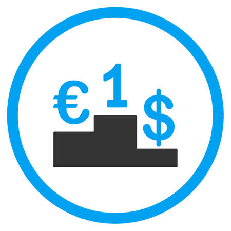 interchange: Currency Competition vector icon. Style is bicolor flat circled symbol, blue and gray colors, rounded angles, white background. Illustration