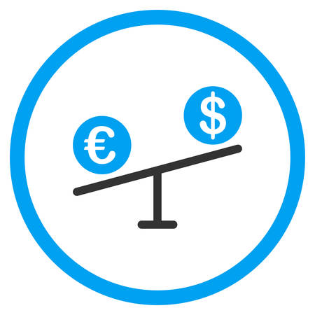 femida: Currency Market vector icon. Style is bicolor flat circled symbol, blue and gray colors, rounded angles, white background. Illustration