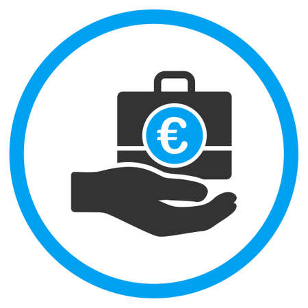 the case selected: Euro Banking Service vector icon. Style is bicolor flat circled symbol, blue and gray colors, rounded angles, white background. Illustration