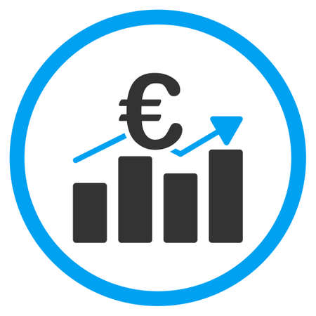 circled: Euro Business Chart vector icon. Style is bicolor flat circled symbol, blue and gray colors, rounded angles, white background. Illustration