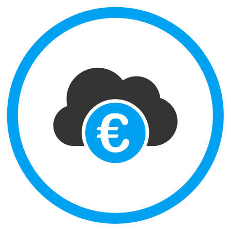 circled: Euro Cloud Banking vector icon. Style is bicolor flat circled symbol, blue and gray colors, rounded angles, white background. Illustration