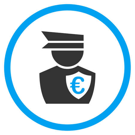 patrolman: Euro Commissioner vector icon. Style is bicolor flat circled symbol, blue and gray colors, rounded angles, white background. Illustration