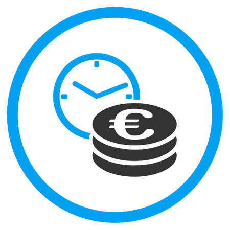 accretion: Euro Credit vector icon. Style is bicolor flat circled symbol, blue and gray colors, rounded angles, white background.