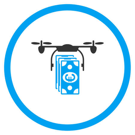 delivering: Euro Drone Banking vector icon. Style is bicolor flat circled symbol, blue and gray colors, rounded angles, white background. Illustration