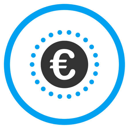 selected: Euro Gold Coin vector icon. Style is bicolor flat circled symbol, blue and gray colors, rounded angles, white background. Illustration