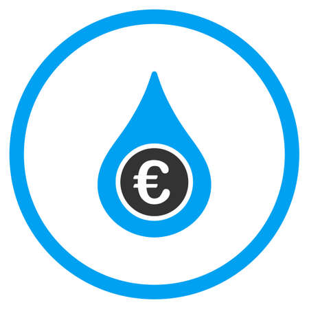 natural gas prices: Euro Liquid Drop vector icon. Style is bicolor flat circled symbol, blue and gray colors, rounded angles, white background.