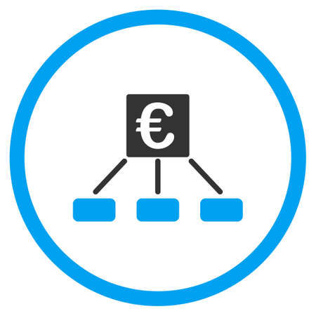 selected: Euro Money Payment vector icon. Style is bicolor flat circled symbol, blue and gray colors, rounded angles, white background.