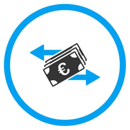 Euro Money Transfer icono de vector. El estilo es símbolo de un círculo bicolor plana, colores azul y gris, ángulos redondeados, fondo blanco.