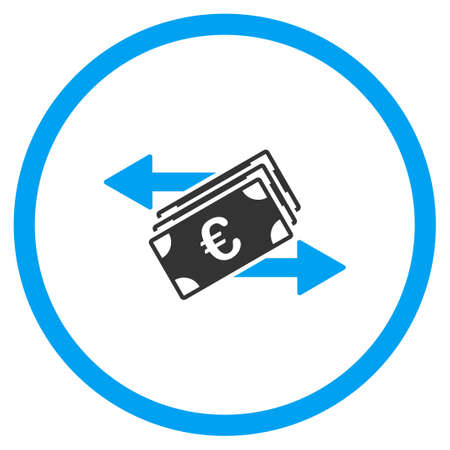 bank money: Euro Money Transfer vector icon. Style is bicolor flat circled symbol, blue and gray colors, rounded angles, white background. Illustration