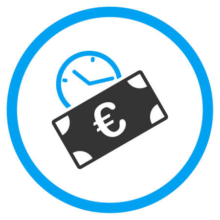 blue icon: Euro Recurring Payment vector icon. Style is bicolor flat circled symbol, blue and gray colors, rounded angles, white background. Illustration
