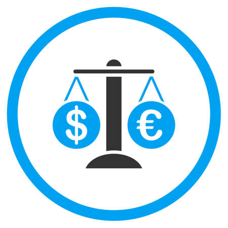 themis: Forex Market vector icon. Style is bicolor flat circled symbol, blue and gray colors, rounded angles, white background. Illustration