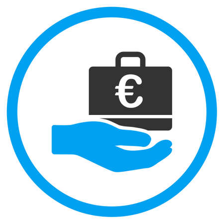 the case selected: Euro Accounting Service glyph icon. Style is bicolor flat circled symbol, blue and gray colors, rounded angles, white background. Stock Photo
