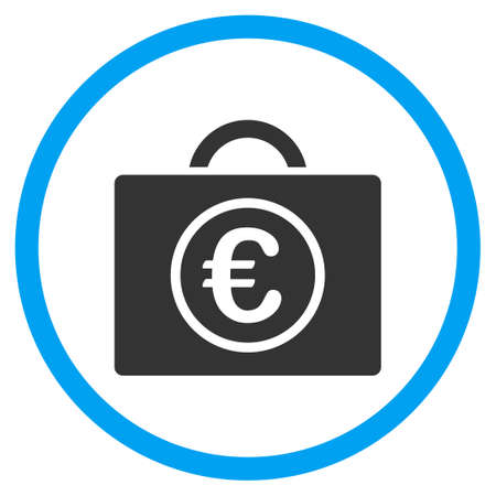 the case selected: Euro Baggage glyph icon. Style is bicolor flat circled symbol, blue and gray colors, rounded angles, white background. Stock Photo