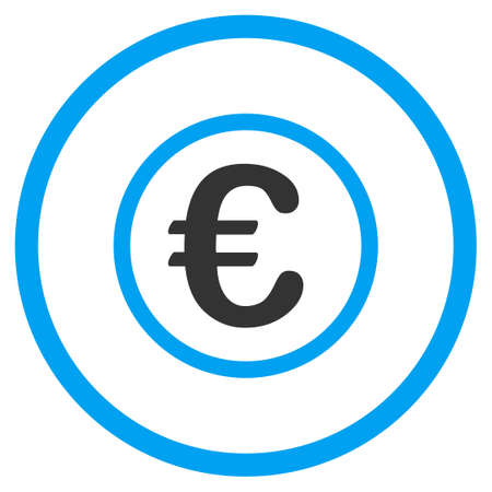 circled: Euro Coin glyph icon. Style is bicolor flat circled symbol, blue and gray colors, rounded angles, white background.
