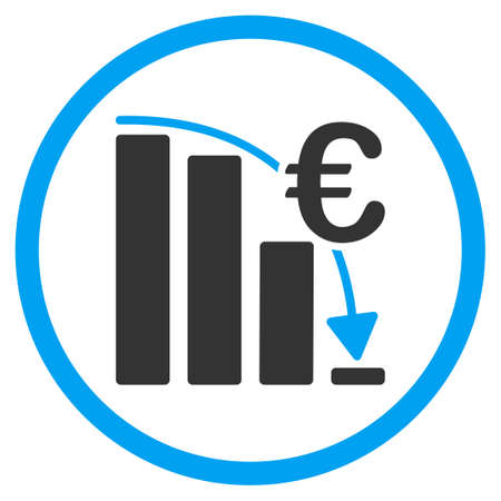 epic: Euro Epic Fail Crisis glyph icon. Style is bicolor flat circled symbol, blue and gray colors, rounded angles, white background. Stock Photo