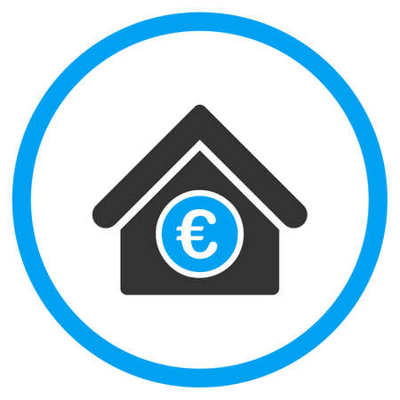 Euro Financial Center glyph icon. Style is bicolor flat circled symbol, blue and gray colors, rounded angles, white background. Banco de Imagens