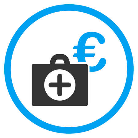 the case selected: Euro Medical Payment glyph icon. Style is bicolor flat circled symbol, blue and gray colors, rounded angles, white background. Stock Photo