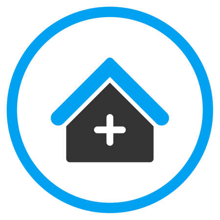 polyclinic: Clinic vector icon. Style is bicolor flat circled symbol, blue and gray colors, rounded angles, white background.