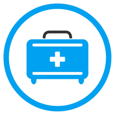 the case selected: First Aid Toolkit vector icon. Style is bicolor flat circled symbol, blue and gray colors, rounded angles, white background.