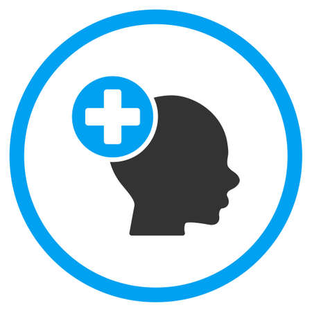 memory drugs: Head Treatment vector icon. Style is bicolor flat circled symbol, blue and gray colors, rounded angles, white background.
