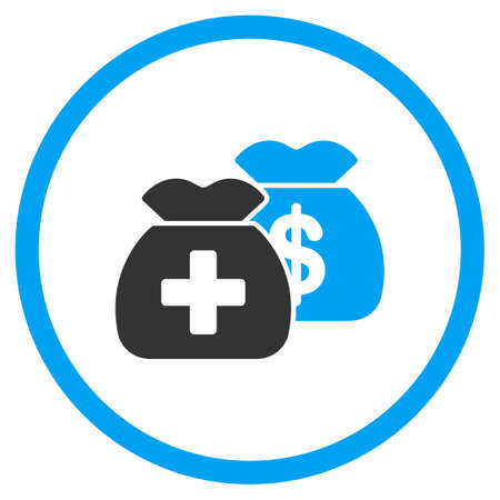 health care funding: Health Care Funds vector icon. Style is bicolor flat circled symbol, blue and gray colors, rounded angles, white background.