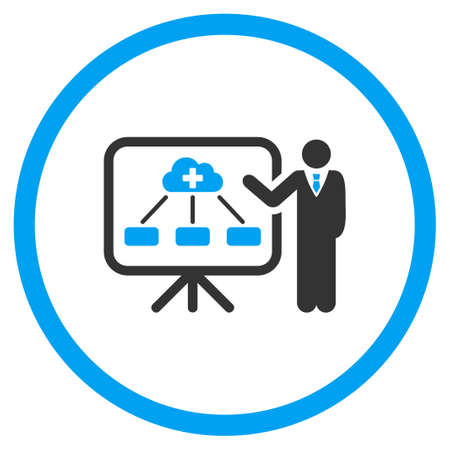 health care analytics: Health Care Structure Report vector icon. Style is bicolor flat circled symbol, blue and gray colors, rounded angles, white background.