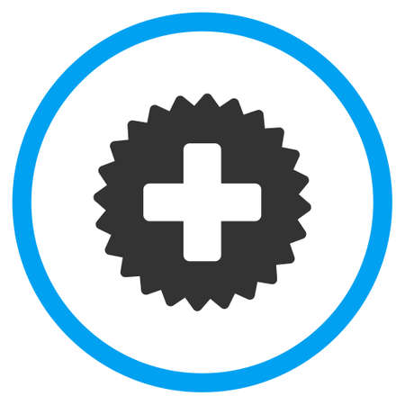 rounded: Health Care Stamp vector icon. Style is bicolor flat circled symbol, blue and gray colors, rounded angles, white background. Illustration