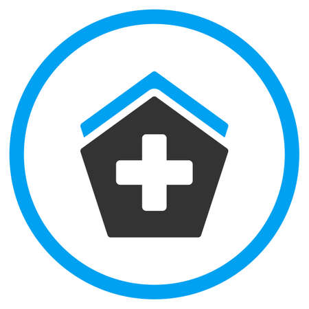 polyclinic: Hospital vector icon. Style is bicolor flat circled symbol, blue and gray colors, rounded angles, white background.