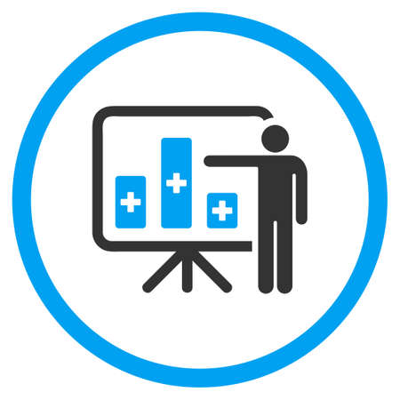 health care analytics: Medical Bar Chart Presentation vector icon. Style is bicolor flat circled symbol, blue and gray colors, rounded angles, white background. Illustration