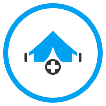 circled: Field Hospital vector icon. Style is bicolor flat circled symbol, blue and gray colors, rounded angles, white background.