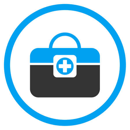 the case selected: Medic Case vector icon. Style is bicolor flat circled symbol, blue and gray colors, rounded angles, white background.